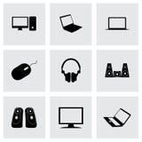 Ícones pretos do computador do vetor ajustados Fotos de Stock Royalty Free