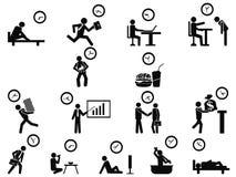 Ícones pretos do conceito da gestão de tempo do homem de negócios ajustados Imagem de Stock Royalty Free
