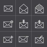 Ícones pretos do email do vetor ajustados Fotos de Stock Royalty Free
