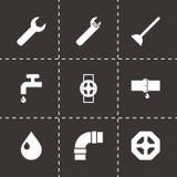 Ícones pretos do encanamento do vetor ajustados Imagens de Stock