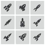 Ícones pretos do foguete do vetor ajustados Fotografia de Stock Royalty Free
