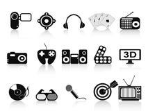 Ícones pretos do home entertainment ajustados Foto de Stock Royalty Free