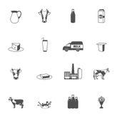 Ícones pretos do leite ajustados Imagens de Stock Royalty Free