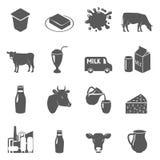 Ícones pretos do leite ajustados Imagem de Stock Royalty Free