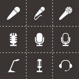 Ícones pretos do microfone do vetor ajustados Fotografia de Stock Royalty Free