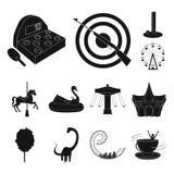 Ícones pretos do parque de diversões na coleção do grupo para o projeto O equipamento e as atrações vector a ilustração conservad ilustração stock
