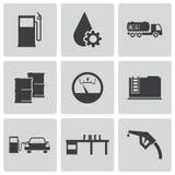 Ícones pretos do posto de gasolina do vetor ajustados Fotografia de Stock