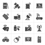 Ícones pretos do rádio e das comunicações ilustração royalty free