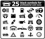 25 ícones pretos do serviço do carro Fotografia de Stock Royalty Free