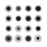 Ícones pretos do sol Imagens de Stock Royalty Free