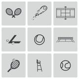 Ícones pretos do tênis do vetor ajustados Imagem de Stock