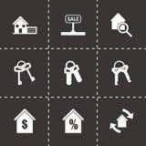 Ícones pretos dos bens imobiliários do vetor ajustados Fotos de Stock Royalty Free