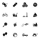 Ícones pretos dos brinquedos do vetor ajustados ilustração royalty free