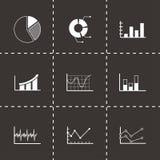 Ícones pretos dos diagramas do vetor ajustados Imagem de Stock Royalty Free