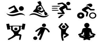Ícones pretos dos esportes do vetor ajustados no cinza ilustração stock