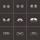 Ícones pretos dos olhos dos desenhos animados do vetor ajustados Imagens de Stock Royalty Free