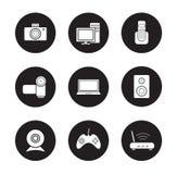 Ícones pretos dos produtos eletrónicos de consumo ajustados ilustração stock