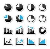 Ícones pretos e azuis do gráfico da carta como etiquetas Foto de Stock