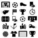 Ícones pretos sobre o futebol Foto de Stock Royalty Free