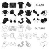 Ícones pretos ventile e do atributo na coleção do grupo para o projeto Ilustração da Web do estoque do símbolo do vetor do fã de  ilustração stock