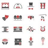 Ícones pretos vermelhos do teatro ajustados Foto de Stock