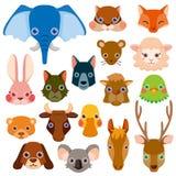 Ícones principais animais do vetor ilustração stock