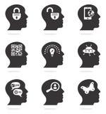 Ícones principais de pensamento da silhueta Fotografia de Stock