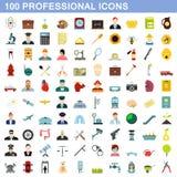 100 ícones profissionais ajustados, estilo liso ilustração royalty free