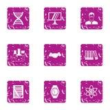 Ícones progressivos ajustados, estilo da ciência do grunge Fotografia de Stock