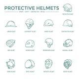 Ícones protetores dos capacetes Fotografia de Stock Royalty Free