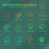 Ícones protetores dos capacetes Fotos de Stock