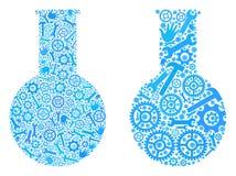 Ícones químicos da garrafa da colagem de ferramentas do reparo ilustração royalty free
