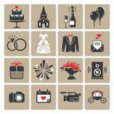 Ícones quadrados coloridos do casamento Fotos de Stock