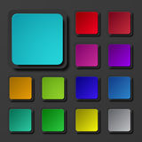 Ícones quadrados coloridos modernos do vetor ajustados Imagem de Stock