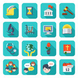 Ícones quadrados da escola ajustados ilustração do vetor