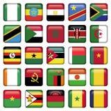 Ícones quadrados das bandeiras africanas Imagens de Stock Royalty Free