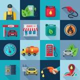Ícones quadrados do posto de gasolina ajustados Fotografia de Stock