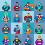 Ícones quadrados do super-herói ajustados Fotos de Stock