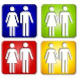 Ícones quadrados fêmeas masculinos Imagem de Stock Royalty Free
