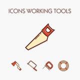 Ícones que worcking ferramentas Fotos de Stock