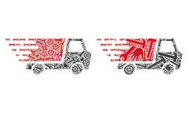 Ícones rápidos da entrega da colagem de ferramentas do serviço ilustração royalty free
