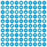 100 ícones railway ajustados azuis ilustração royalty free
