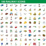 100 ícones railway ajustados, estilo dos desenhos animados ilustração stock