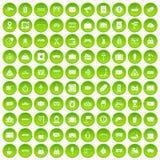 100 ícones railway ajustados verdes ilustração stock