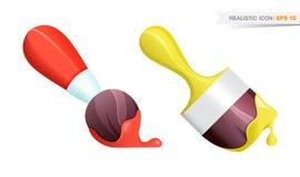 Ícones realísticos da escova de pintura ajustados Imagem de Stock