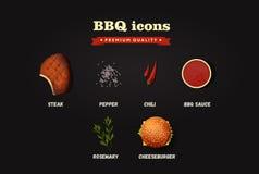 Ícones realísticos do BBQ do vetor ajustados Vista superior Imagem de Stock