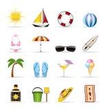 Ícones realísticos do verão e do feriado ilustração royalty free