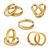 Ícones realísticos do vetor 3D dos pares das alianças de casamento do ouro ajustados ilustração stock