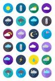 Ícones redondos da previsão de tempo da cor ajustados Fotografia de Stock