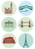 Ícones redondos de capitais europeus Fotografia de Stock Royalty Free